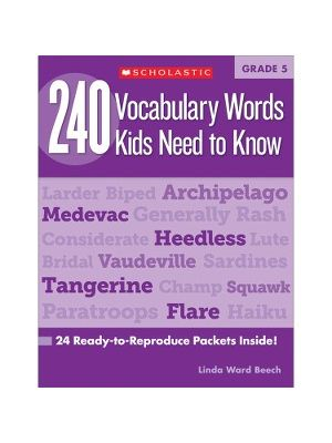 Scholastic Res. Grade 5 Vocabulary 240 Words Book Education Printed Book by Linda Ward Beech - English - Book - 80 Pages
