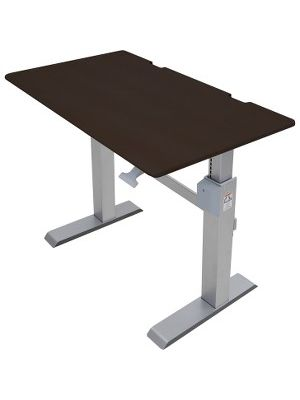 Ergotron WorkFit-DL 48, Sit-Stand Desk (Wenge) - Wenge Rectangle Top - 2 Legs - 48