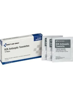 First Aid Only BZK Antiseptic Towelettes - 1Box - 10 Per Box - White
