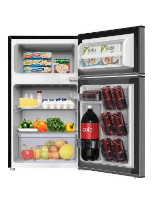 Avanti RA31B3S 3.1 CF 2dr Counterhigh Refrigerator - 3.10 ft³ - Auto-defrost - Reversible - 2.10 ft³ Net Refrigerator Capacity - 1 ft³ Net Freezer Capacity - 120 V AC - 320 kWh per Year - Black, Stainless Steel, Clear - Freestanding