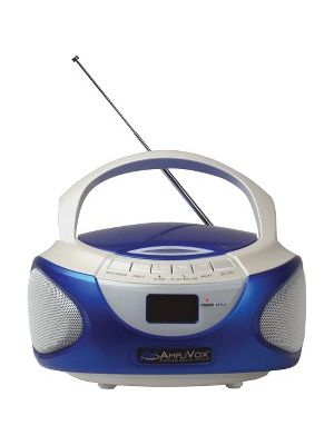 AmpliVox CD Boombox with Bluetooth - 1 x Disc - 2 W Integrated Stereo Speaker LCD - CD-DA, MP3 - 6 Hour Run Time - Auxiliary Input