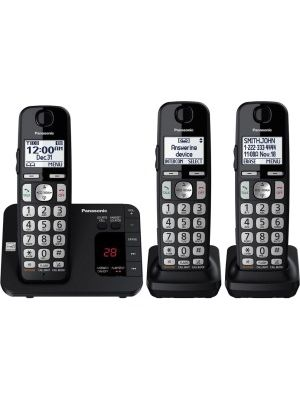 Panasonic KX-TGE433B DECT 6.0 Plus 1.90 GHz Cordless Phone - Black - Cordless - 1 x Phone Line - 3 x Handset - Speakerphone - Answering Machine - Hearing Aid Compatible