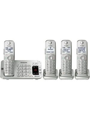 Panasonic Link2Cell KX-TGE474S DECT 6.0 1.90 GHz Cordless Phone - Silver - Cordless - 1 x Phone Line - 4 x Handset - Speakerphone - Answering Machine - Hearing Aid Compatible