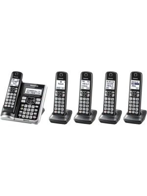 Panasonic Link2Cell KX-TGF575S Bluetooth/DECT 6.0 1.93 GHz Cordless Phone - Silver - 1 x Phone Line - 5 x Handset - Speakerphone - Answering Machine