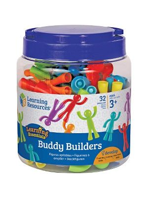 Learning Resources Ages 3+ Buddy Builders Set - Skill Learning: Eye-hand Coordination, Motor Skills, Visual, Imagination, Counting, Sorting, Color Matching, Problem Solving, Educational, Grasping, Motor Planning - 32 Pieces