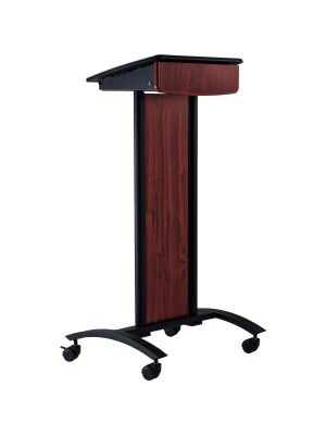 Oklahoma Sound Conversation Lectern - Black, Laminated - Assembly Required - Powder Coated Black - Polycarbonate, Laminate