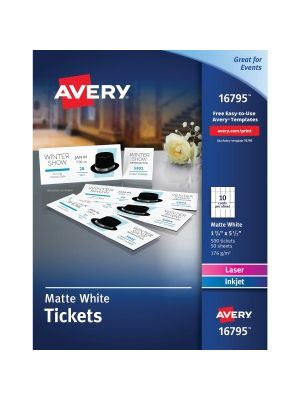 Avery® Tear-Away Stubs Matte Printable Tickets - White - 500/Pack