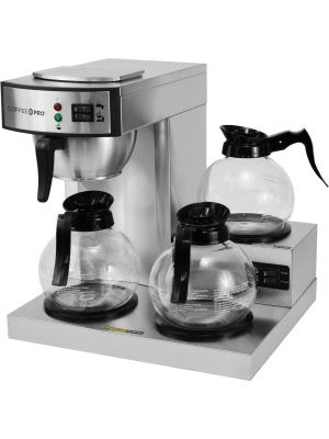 Coffee Pro 3-Burner Commercial Coffee Brewer - 2.32 quart - 36 Cup(s) - Multi-serve - Silver - Stainless Steel, Glass