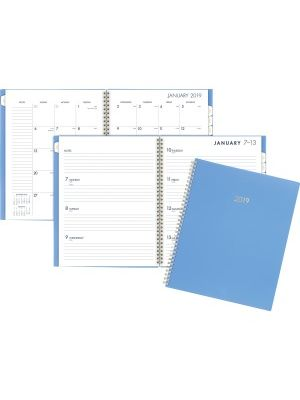 At-A-Glance Cambridge Color Bar Large Planner - Large Size - Julian - Weekly, Monthly - 1 Year - January till December - 1 Week, 1 Month Double Page Layout - Wire Bound - Blue - Poly - Notes Area, Reference Calendar, Double-sided, Storage Pocket, Tabbed,