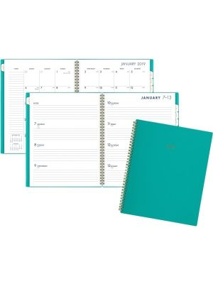 At-A-Glance Cambridge Color Bar Large Planner - Large Size - Julian - Weekly, Monthly - 1 Year - January till December - 1 Week, 1 Month Double Page Layout - Wire Bound - Teal - Poly - Notes Area, Reference Calendar, Double-sided, Storage Pocket, Tabbed,