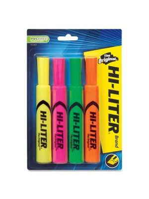 Avery® Desk Style Highlighters - Chisel Marker Point Style - Yellow, Pink, Orange, Green - Green, Orange, Pink, Yellow Barrel - 4 / Pack