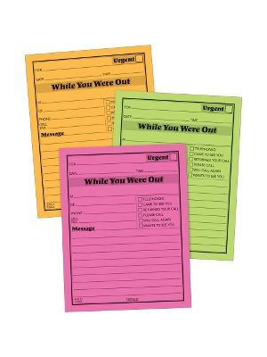 Adams Neon While You Were Out Message Pads - 50 Sheet(s) - Gummed - 4