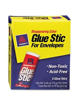 Avery® Disappearing Color Permanent Glue Stic for Envelopes - 0.26 oz - 3 / Pack - Purple