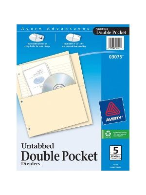 Avery® Untabbed Double Pocket Dividers - 2 x Pockets Capacity - For Letter 8 1/2
