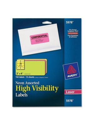 Avery&reg Neon Rectangular Labels for Laser and/or Inkjet Printers - Permanent Adhesive - 2