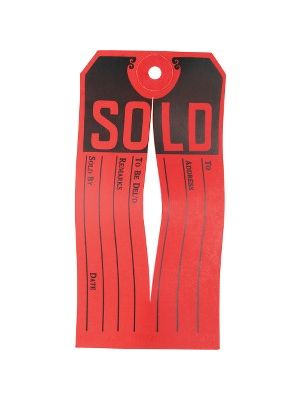 Avery® Sold Tags - 500 / Box - Red, Black