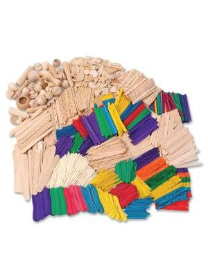 Creativity Street Wood Crafts Activities - Building Shapes - 2100 Piece(s) - 1 Kit - Natural - Wood
