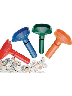 MMF Color-keyed Coin Counting Tube Set - Assorted, Orange, Blue, Green