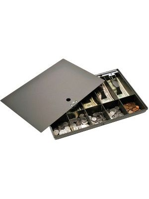 MMF Cash Drawer Tray with Locking Cover - 1 x Cash Tray - Black - Plastic