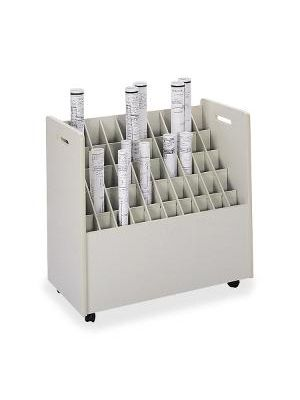 Safco 50-Compartment Mobile Roll File - Putty - 1 Each