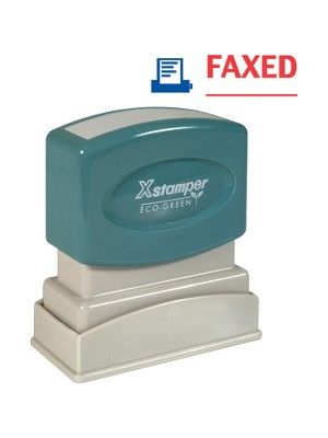 Xstamper Red/Blue FAXED Title Stamp - Message Stamp -