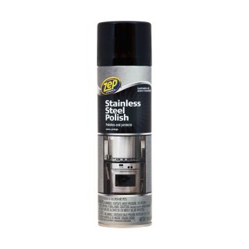 Zep Commercial Stainless Steel Polish - Spray - 0.11 gal (14 fl oz) - 12 / Carton - Chrome, Black