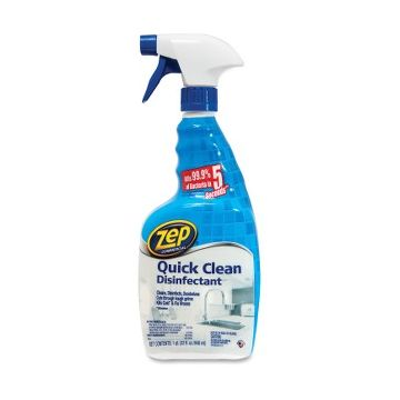 Zep Commercial Quick Clean Disinfectant - Liquid - 0.25 gal (32 fl oz) - Fresh Scent - 12 / Carton - Yellow